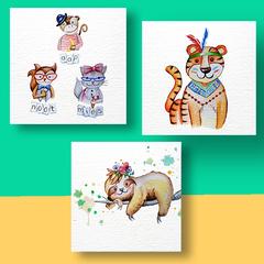 Aquarel Compilatie Cute Animals