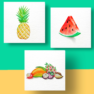 Aquarel Compilatie Fruit