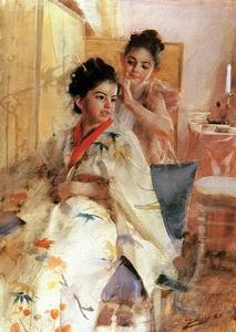 schilderij anders Zorn aquarel